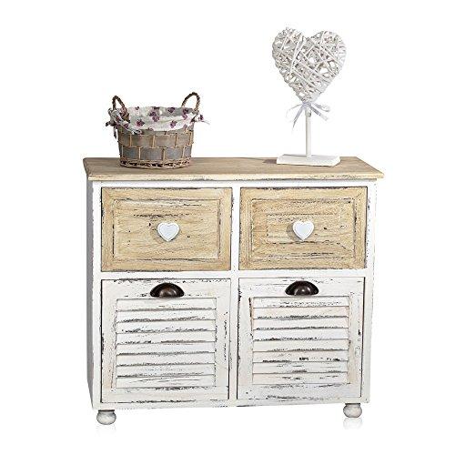 Möbel Konsole Schränke (Badezimmerschrank mit Lamellen und 4 Staufächer 62 cm x 29 cm x 70 cm (H x B x L))