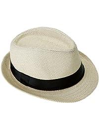 Faleto chapeau de paille pour homme femme unisex chapeau d'été tricoté à la main style jazz classique et loisir chapeau panama pour vacance en plage jazz hut