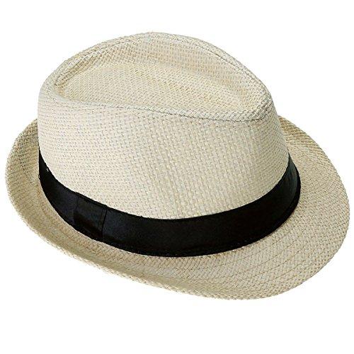Faleto Kinder Jungen Mädchen Panamahut Sonnenhut Sommerhut Beach Hut Strohhut Jazz Hut (Beige)