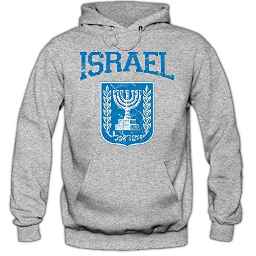 Israel Emblem Hoodie Vorderasien Olivenzweig Jerusalem Herren-Kapuzenpullover, Farbe:Graumeliert (Greymelange F421);Größe:L