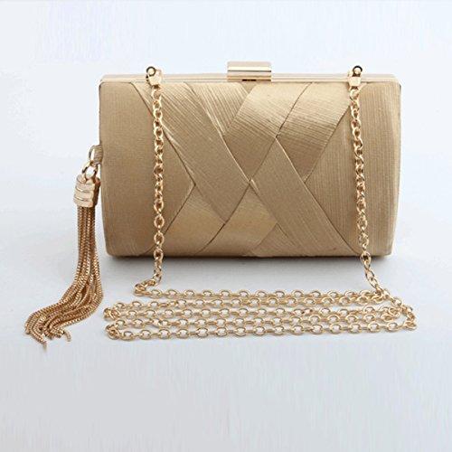 Flada Damen und Damen Satin Abendtaschen Hochzeit Kupplungen Handtaschen mit Quaste Anhänger lila Gold