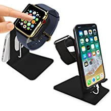 Orzly® - DuoStand Charge Station for Apple Watch & iPhone - Desk Stand Cradle (Soporte de Aluminio) en NEGRO con Espacios de Inserción para ambos Grommet Cargador y Lightning Cable para su uso como un completo y funcional Base de Carga (Charging Dock) para su Apple Watch y el iPhone simultáneamente - Para iPhone Modelos: 5 / 5S / 5C / 6 /6 PLUS y ambos 42mm y 38mm tamaños de 2015 AppleWatch (Original BASIC Modelo / SPORT Model / EDITION Versión)