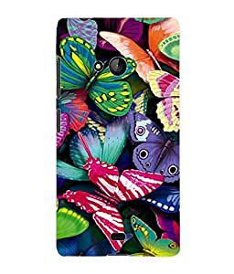 Fuson 3D Printed Colured ButterFly Designer Back Case Cover for Microsoft Lumia 540 - D856