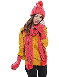 Women s Winter Warm Knitted Hat Scarf Gloves Cold Weather 3pcs Set 0fa60dacd0e5
