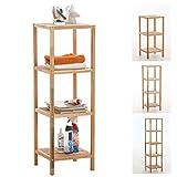 CLP Standregal aus Holz | Holzregal in verschiedenen Höhen erhältlich | Badezimmerregal mit 3-5 Ablageflächen Lindel 36 x 36 x 112 cm, 4 Ablagen