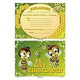 """Einladungskarten (8 Stück) zum Selbstausfüllen für Kindergeburtstag - """"Bienen"""""""