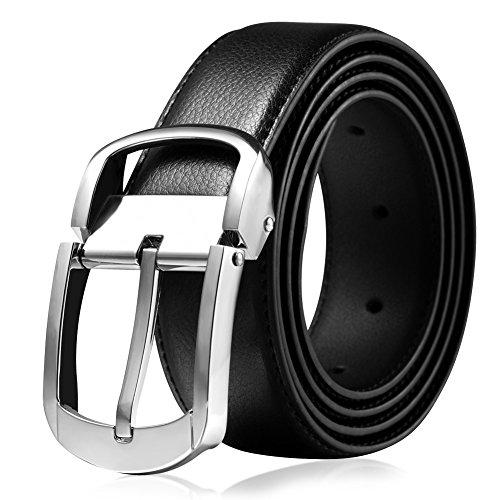 Vbiger Cinturones de Hebilla Perno para Hombre,1 caja de regalo gratis (110CM, Negro1)