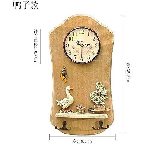 qwer American idilliaco parete in legno orologi decorazione creative che fa aderire il gancio appendiabiti Jong-Jewelry , Altro , Duck)
