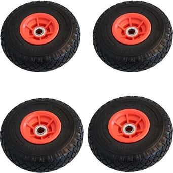 4x Sackkarrenrad Pannensicher 260x85 mm 3.00-4 PU Sackkarre Ersatzrad Rad Reifen