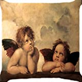 Diooe Baby Angels Cupid Feather Wings Yellow Linen Throw Case Home Sofa Ative 18 X 18 inch.