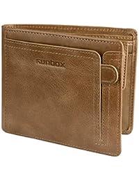 ac99a050a1797 RUNBOX Herren Geldbörsen Geldbeutel Portemonnaie Brieftasche echtem Leder  mit RFID-Schutz
