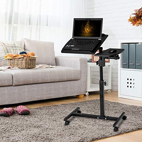 COSTWAY Laptoptisch Rolltisch Notebooktisch Betttisch Beistelltisch Sofa Bett Tablett Computer Tisch Verstellbar