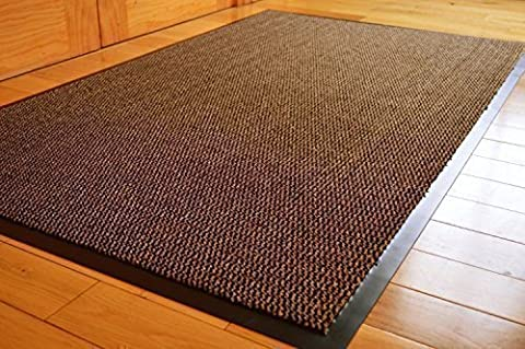 Extra Large Medium Small High Grade Top Quality Non Slip Door Mat Rubber Backed Runner Mats Rugs PVC 7mm thick Non Shedding Indoor / Outdoor Use 4 Colours 5 Sizes Made in EU AAA Grade & Quality Commercial Standard (Brown,