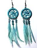 Hejoka-Shop Indianer Ohrschmuck Paar Glitzer Traumfänger TÜRKIS 28mm. Ring Ohrringe Ohrhänger Mini-Federn Perlen Dreamcatcher