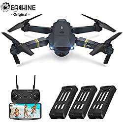 EACHINE E58 Drone Pliable Quadcopter, Drone avec caméra 720P HD FPV WiFi Drone avec Camera 2.0MP - Forfait de 3 Batteries