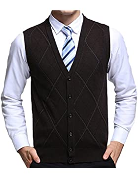Zhhlaixing De los hombres Mens Father Soft Wool V-neck Rhombus Pattern Pullover Knitted Knitwear Jumper Vest Waistcoat...