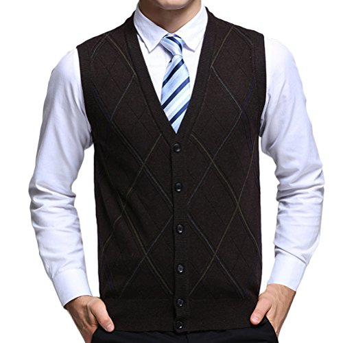 Zhhlinyuan gute Qualität Mens Men's Father Business Spring Rhombus Pattern Sleeveless V-neck Wool Pullover Knitted Jumper Vest Waistcoat Weste Gilet Cardigans Tops (Sleeveless Black V-neck Knit Sweater)