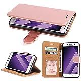 Coque Samsung Galaxy A3 2017, SOWOKO Étui Housse en Cuir pour Galaxy A3 (2017) [Portefeuille Etui] Premium Flip Case avec Stand/ Fermoir Magnétique, Rose Gold