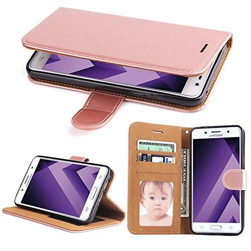 Galleria fotografica Cover Galaxy A3 2017, SOWOKO Custodia Portafoglio in Pelle con Chiusura Magnetica/ Supporto/ Porta Carte per Samsung Galaxy A3 (2017), Oro Rosa