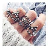 10pcs Orientalisches Vintage Fashion Midi Ringe Fingerring-Set für Damen Mädchen, Fashion Frauen Midi Ring Nagel Finger Band