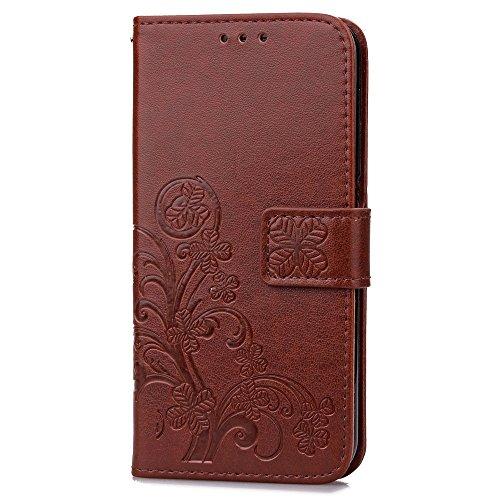 Für BQ Aquaris U Lite Cover Case Solid Farbe Präge Blumen Textur Brieftasche Stand Leder Tasche mit doppelten Magnetc Verschluss & Lanyard & Cash Card Slots ( Color : Brown ) Brown