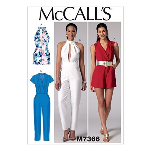 McCall's Patterns M7366 Misses' Pleated Surplice or Plunging-Neckline Rompers, Jumpsuits & Belt, E5 (14-16-18-20-22) by McCall's Patterns