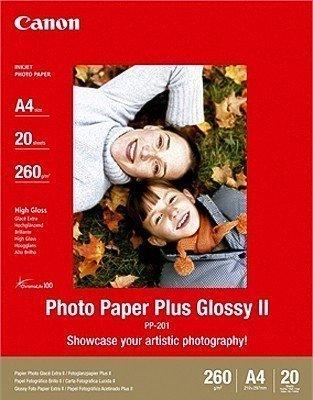Canon Fotopapier, 20 Blatt 21 x 29, Hochglänzend glossy, PP-201 Photo Paper Plus Glossy II 260g, A4 210x297, PP201 - Glossy Photo Plus Paper Ii
