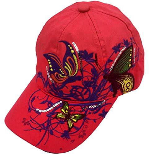 Belsen Mädchen Schmetterlings-Stickerei- Vintage Baseball Cap Snapback Trucker Hat (Erwachsene Rote)