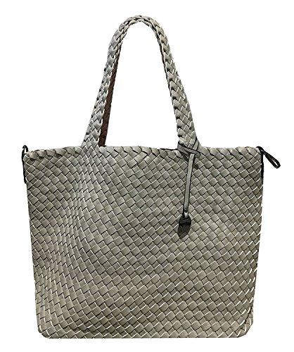 L groß 3in1 geflochtene Wendetasche Handtasche Schultertasche bag Umhängetasche Tragetasche groß (Grau / Rosa) (Geflochtene Tasche)