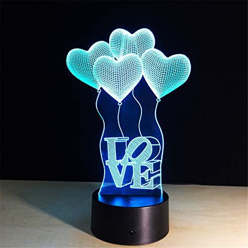 (Bunte Tischlampe Liebes Herz Ballon Romantisches Geschenk für Hochzeit Frau Liebhaber 3D 3D Baby Nachttischlampe Drop Ship)
