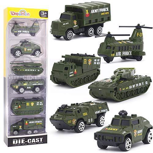 Mini veicolo militare modelli costruzione veicoli giocattolo per bambini ragazze e ragazzi decorazioni per torta, set di 6