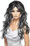 Smiffys Déguisement Femme, Perruque Mariée gothique, Cheveux longs ondulés, Taille unique, Couleur: Noir et Gris, 35828
