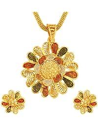 Asmitta Pretty Flower Design Gold Plated Matinee Style Meenakari Work Pendant Set For Women