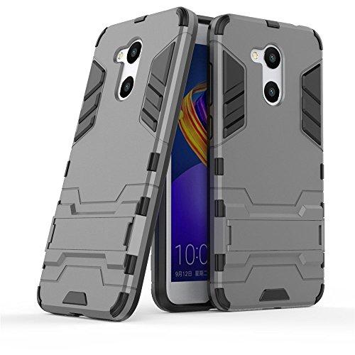 Huawei Honor 6C Pro Hülle, GOGME Anti-Scratch PC Rückwand Schale + Shockproof TPU Stoßfänger + Faltbarer Halterungen, Doppelschichter Schutz Schutzhülle, Grau