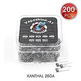 200 Stück Kanthal A1 Vorkompilierte Draht Coil 26 AWG Heating Wire by Vapethink, 0.8 ohm
