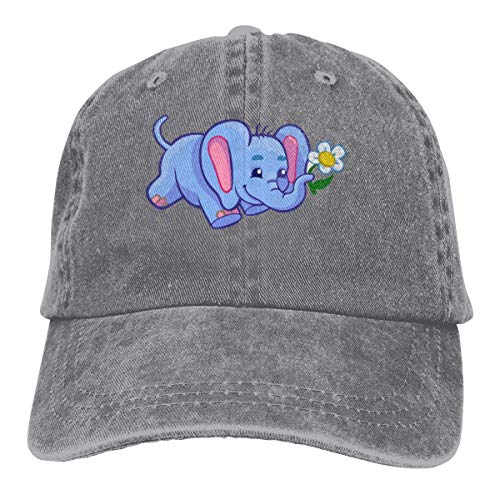Back Baseball Kappe (Hoswee Unisex Kappe/Baseballkappe, Elephant with Flower Men/Women Fashion Adjustable Baseball Cap Jeans Back Closure Hip Hop Hats)
