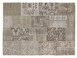 DALLIANCE ALLOVER Vintage Patchwork Velour Teppich in natur, Größe: 70x140 cm