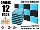 Super Dash 12 Stück Schwarz und Baby Blau 50 x 50 x 5 cm Akustische Schalldämmung Flach Bevel Schaum Studio Behandlung Wandfliesen SD1039