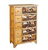ts-ideen Retro 70er Jahre Kommode Regal Schrank mit 5 Schubladen 5 Körben mit Blumenmuster Orange Braun
