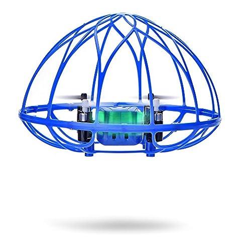 ANKOUJA 2,4G RC Drohne Quadrocopter Fernsteuerung für Kinder Anfänger mit Schutzrahmen Fernbedienung 360° Stehaufman Spielzeug Flugzeug Kopfloses Modus one key return 3D 360° Flips 6 Axis-GyroBlau