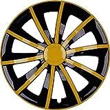 PREMIUM Radkappen Radzierblenden Radblenden 'Modell: Gral' 4er Set, Farbe: Gelb-Schwarz, Felgendurchmesser:15 Zoll