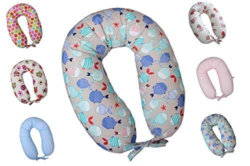 Cuscino allattamento e gravidanza maternita' completo xxl sfoderabile lavabile made in italy varianti disponibili (pesciolini)