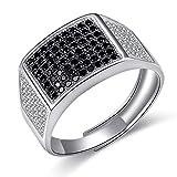 JiangXin Luxus Gentleman Ring herren Verstellbar Silberring Öffnung 925 Sterling Silber Men's ring Schwarze Micro ebnen Simulierter Diamant Best Geschenk Für Männer