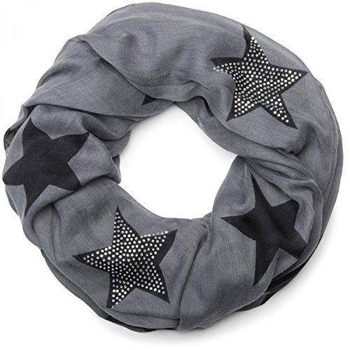 styleBREAKER Loop Schal mit Sterne Muster und edler Strass Applikation, Schlauchschal, Tuch, Damen 01018086, Farbe:Grau-Schwarz (One Size) -