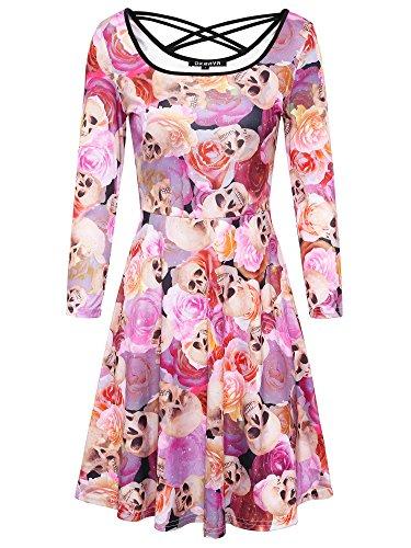 DKBAYA Vintage Kleid Damen mit Schädel und Rose Muster Floral Print Partykleid Langarm Skaterkleid mit Schnürung Weihnachten (Pin Kostüme Retro Up Halloween)