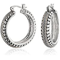Bling Jewelry Bali Caviar Two Tone Cable Bead Hoop Earrings