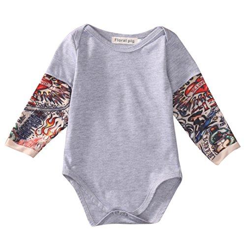 8d1738bb064c Newborn Baby Boy Girl Long Sleeve Romper Tattoo Print Overalls ...