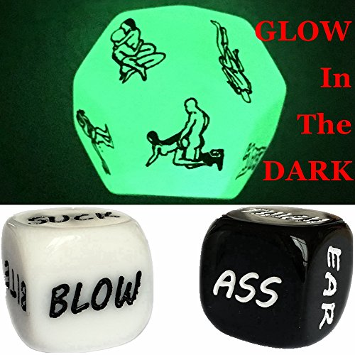 Funny Glow im Dunkeln 12-Seitiger Würfel Sexstellungen Würfel für Bachelor Party oder Liebe Paare Neuheit Game Toys Geschenk (1pc Glow Sex+1 Pair White/Black Foreplay Dice)