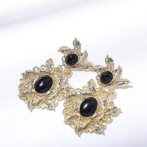 Flyrens Mode Luxus Hof Retro Blätter Ohrringe Ohrringe Damen Temperament Wilde Ohrringe Schmuck, Gold -