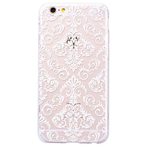 GrandEver iPhone 6S Hülle [2 Pack] iPhone 6 Weiche Silikon Handyhülle TPU Bumper Schutzhülle für iPhone 6 / 6S(4.7'') Rückschale Klar Handytasche Anti-Kratzer Stoßdämpfung Ultra Slim Rückseite Silicon Rosa Mandala + Weiß Lace